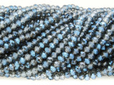 Denim Blue & Clear Crystal Glass Beads 4mm (CRY340)