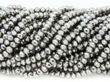 Gunmetal Silver Crystal Glass Beads 4mm (CRY346)
