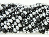 Black & Silver Crystal Glass Beads 6mm (CRY361)