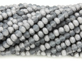 Matte Silver & Gray Crystal Glass Beads 6mm (CRY381)