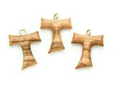 Olive Wood Franciscan Cross Pendant - 24mm (SF20)