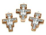 Olive Wood & Metal San Damiano Cross Pendant - 43mm (SF21)
