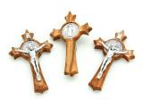 Olive Wood & Metal Crucifix Pendant - 74mm (SF22)