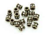 Pewter Bead - Brass Jeweled Barrel 7mm (PB849)