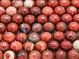 Poppy Jasper Faceted Round Gemstone Beads 10mm (GS4298)