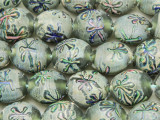 Green w/Multi-Color Flowers Round Lampwork Glass Beads 19mm (LW1584)