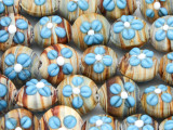 Tan Striped w/Blue Flowers Lampwork Glass Beads 18mm (LW1586)