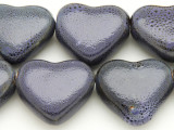 Heart 30mm - Glazed Purple Porcelain Beads (PO396)