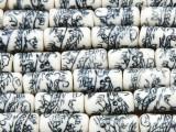 Tube w/Dragons 16-18mm - Glazed Blue & White Porcelain Beads (PO402)
