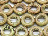 Ring 18mm - Glazed Olive Porcelain Beads (PO417)