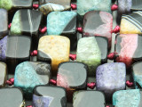 Black & Multi-Color Agate Cube Gemstone Beads 10-13mm (GS4355)