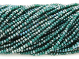 Emerald Green & Silver Crystal Glass Beads 2mm (CRY415)