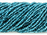 Metallic Aqua Crystal Glass Beads 2mm (CRY416)