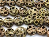 Ornate Round Tabular Brass Beads 16-20mm - Ghana (ME5700)