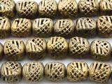Ornate Cube Brass Beads 15-18mm - Ghana (ME5702)