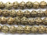 Ornate Round Brass Beads 12-15mm - Ghana (ME5706)