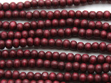 Cranberry Red Irregular Round Wood Beads 6mm (WD948)