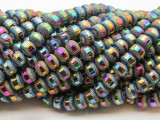 Jeweltone Metallic Stripe Crystal Glass Beads 8mm (CRY449)