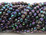 Dark Jeweltone Flat Round Crystal Glass Beads 6mm (CRY505)