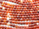 Matte Red-Orange Agate Round Gemstone Beads 6mm (GS4425)