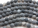Matte Black Crackle Agate Round Gemstone Beads 10mm (GS4451)