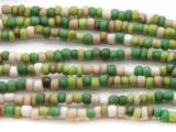 "Green Multi-Color Glass Beads - 44"" strand (JV9067)"