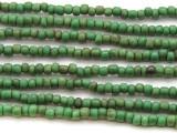 "Green Antiqued Glass Beads - 44"" strand (JV9069)"