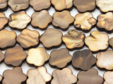 Brown Flower Tabular Shell Beads 18mm (SH566)