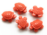 Coral Red Turtle Resin Bead 15mm (RES629)