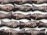 Dark Brown Fish Carved Bone Beads 45mm (B1307)