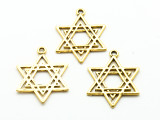 Bright Brass Star of David - Pewter Pendant 32mm (PW916)