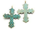Oxidized Brass Ornate Cross - Pewter Pendant 73mm (PW918)