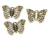 Brass Butterfly - Pewter Pendant 25mm (PW921)