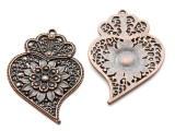 Copper Floral Heart w/Crown - Pewter Pendant 56mm (PW932)
