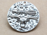 Bull & Arrow w/Rhinestones- Pewter Pendant 41mm (PW936)