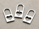 Heart Cutout Lock - Pewter Pendant 25mm (PW938)