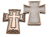 Copper Chevron Cross - Pewter Pendant 49mm (PW939)