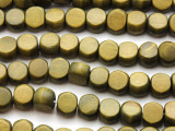 Olive Green Tabular Wood Beads 10mm - Indonesia (WD953)