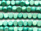 Turquoise Green Tabular Wood Beads 10mm - Indonesia (WD954)