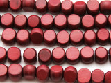 Cranberry Red Tabular Wood Beads 10mm - Indonesia (WD955)