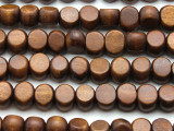 Brown Tabular Wood Beads 10mm - Indonesia (WD958)