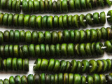 Dark Green Coconut Wood Rondelle Beads 8mm - Indonesia (WD960)