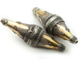 Afghan Tribal Bead - Silver & Brass Bicone 60mm (AF655)