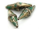 Afghan Tribal Bead - Brass & Green Bicone 52mm (AF656)