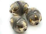 Afghan Tribal Bead - Silver & Brass Egg 29mm (AF663)