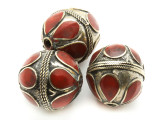 Afghan Tribal Bead - Brass & Red Round 23-27mm (AF665)