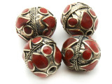 Afghan Tribal Bead - Brass & Red Egg 23-25mm (AF669)
