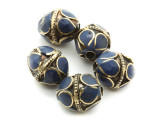 Afghan Tribal Bead - Brass & Dark Blue Egg 16-18mm (AF674)