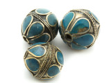 Afghan Tribal Bead - Brass & Blue Egg 22-26mm (AF677)