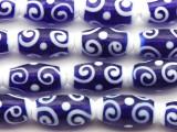 Navy Blue & White Swirl Glass Beads 20mm (JV1195)